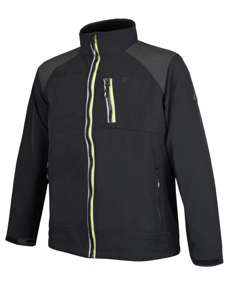 Adam  černá soft. bunda pánská, žlutý zip L