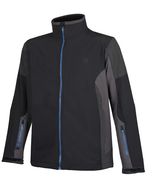 Jimmy  černá soft. bunda pánská, modrý zip L