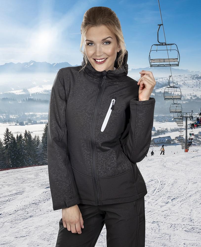 Zimní bunda softsh. ROSE dámská, černá XXL