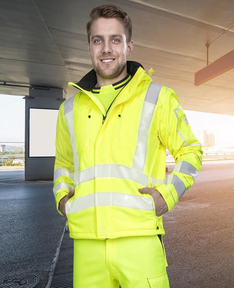 SIGNAL výstražná softshelová bunda žlutá XXXL