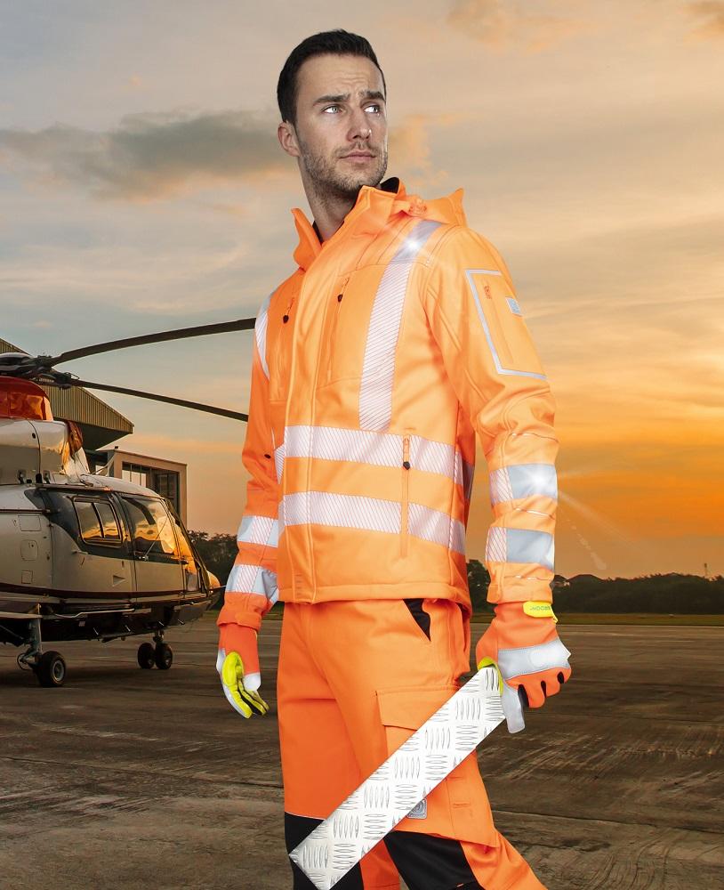 SIGNAL výstražná softshelová bunda oranžová L