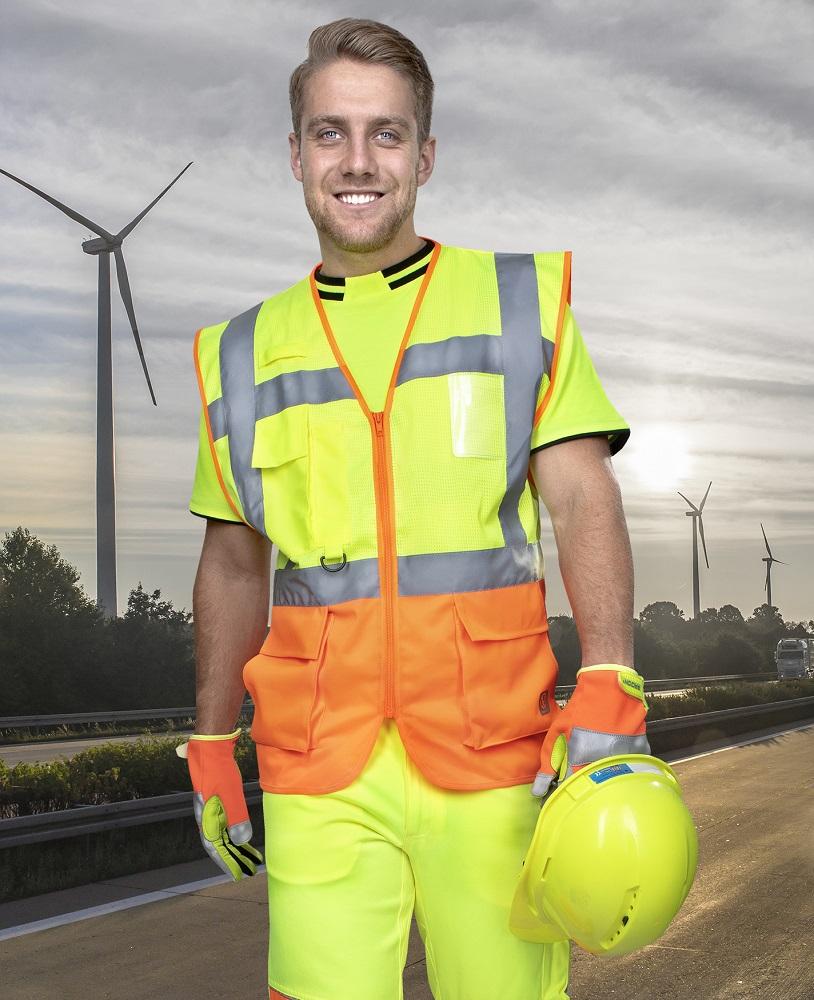 Síťovaná manažerská vesta SIGNAL žluto-oranžová 5XL