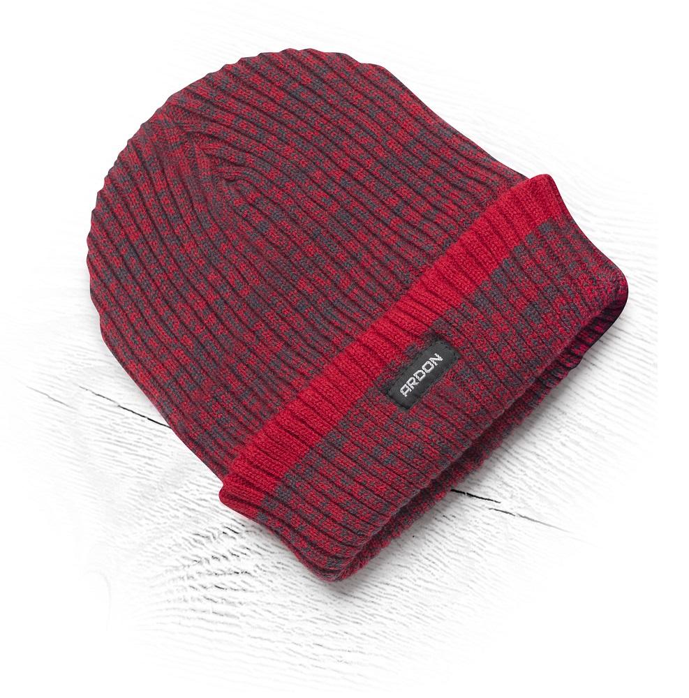 Zimní čepice pletená+fleece Vision Neo červená